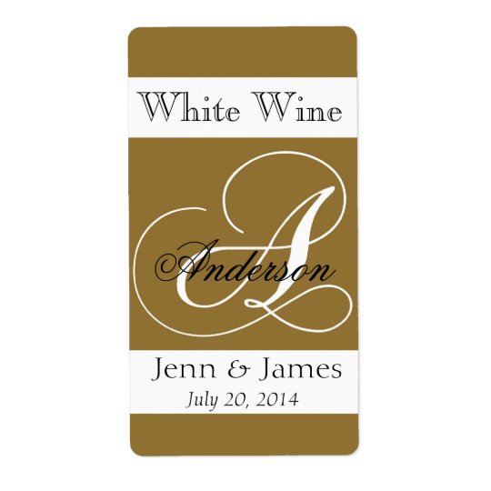 Wedding Wine Labels Gold Monogram A