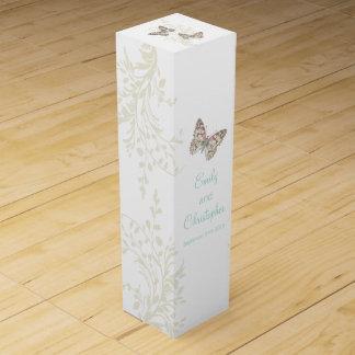 Wedding wine personalize two butterflies wine box