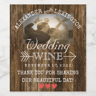 Wedding Wine | Personalized Rustic Country Photo Wine Label