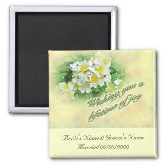 Wedding Wishes Multiflora Roses Square Magnet