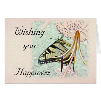 Wedding Wishes Swallowtail Butterfly on Lily Greeting Card
