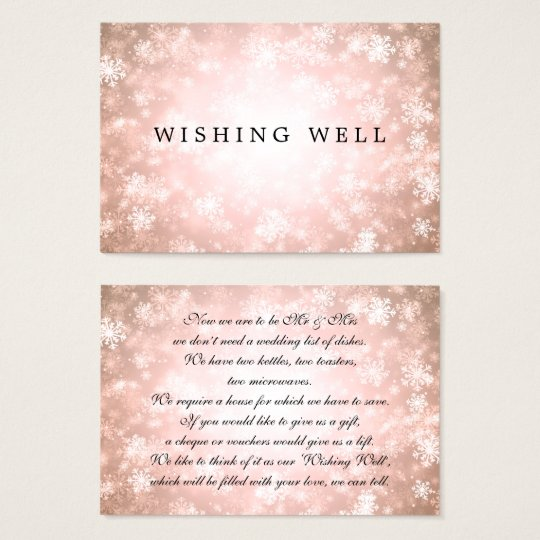Wedding Wishing Well Copper Winter Wonderland Business Card