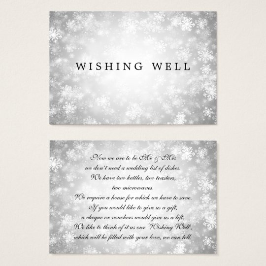 Wedding Wishing Well Silver Winter Wonderland Business Card