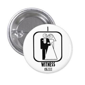 WEDDING WITNESS 3 CM ROUND BADGE
