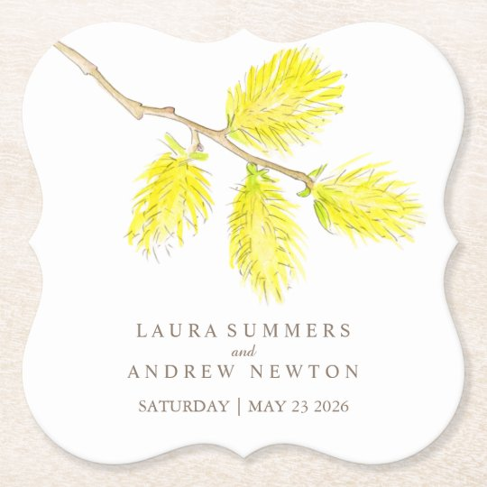 Wedding yellow catkins custom paper coasters