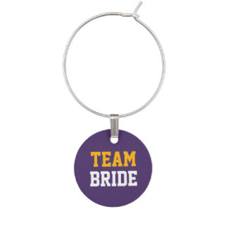 Wedding Yellow Gold Team White Bride on Purple Wine Charm