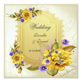 Wedding Yellow Rose Purple Cream 5.25x5.25 Square Paper Invitation Card