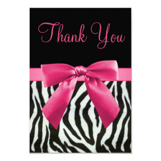 Wedding Zebra Stripes & Pink Printed Bow Thank You Card