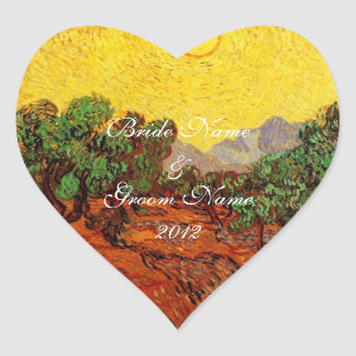 Weddings,Vincent van Gogh Olive Trees Heart Sticker