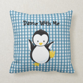 Wedgewood Blue Gingham Pattern•Penguin•Custom Throw Pillow