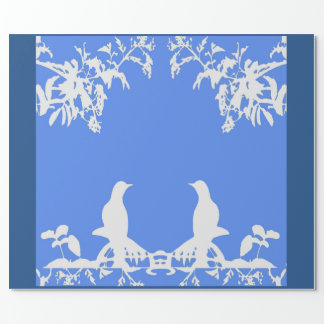 Wedgewood Wrapping Paper - Love Birds-White/Blue