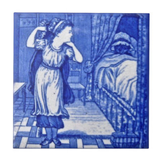 Wedgwood 1880 Red Riding Hood & Wolf Blue Tile