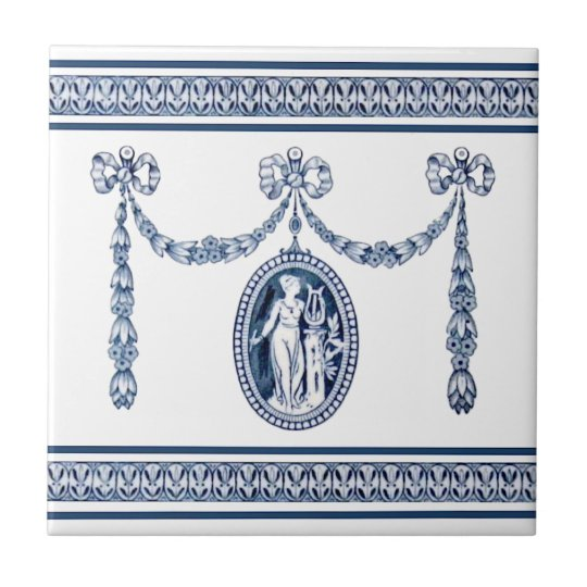 Wedgwood Neoclassical Muse Music Cameo Tile Repro
