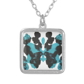 Wednesday Blue Inkblot Design Silver Plated Necklace