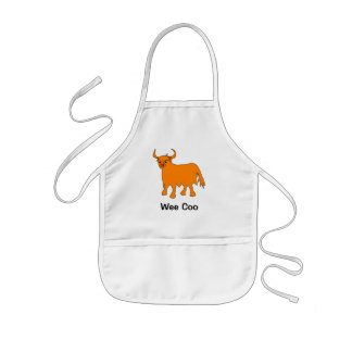 """Wee Coo"" Scottish Highland Cow kids apron"