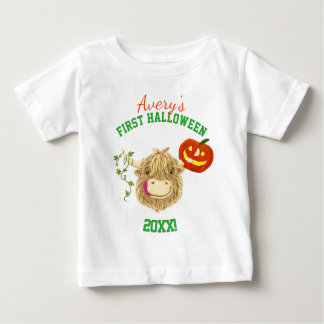 Wee Hamish Highland Cow Baby's First Halloween Baby T-Shirt