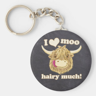 Wee Hamish Loves Moo Hairy Much! Highland Cow Basic Round Button Key Ring