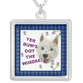 Wee Westie's Words of Wisdom Square Pendant Necklace