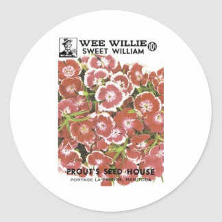 Wee William Sweet William, Prout's Seed House Round Sticker