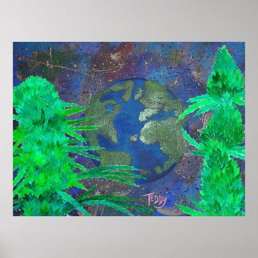 """Weed Art the World"" ©TeddyArt Poster"