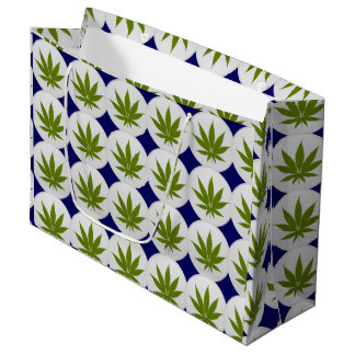 Weed Leaf on White and Midnight Blue Large Gift Bag