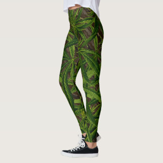 Weed Leaves on Wood Green and Brown Jungle Leggings