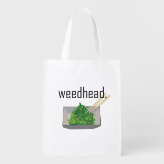 weedhead. (seaweed salad) reusable grocery bag