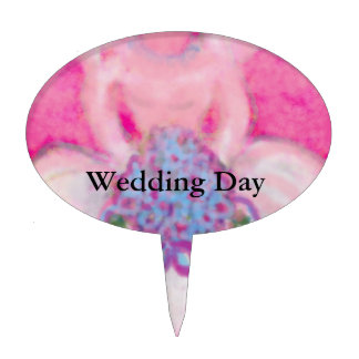 Weeding Gown and Bouquet Wedding Design Cake Toppers