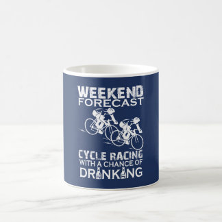 WEEKEND FORECAST CYCLE RACING COFFEE MUG