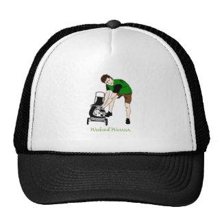 Weekend Warrior Funny Lawn mowing Cartoon Cap