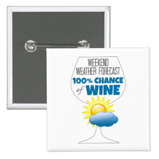 Weekend Weather Forecast 100% Chance of Wine 15 Cm Square Badge