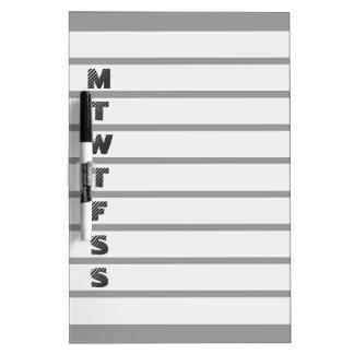 Weekly calendar dry erase board