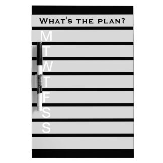 Weekly calendar dry erase board | Black and white