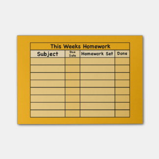 Weekly Homework Post-it Post-it Notes