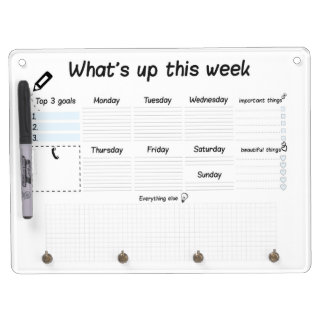weekly planer dry erase board with key ring holder