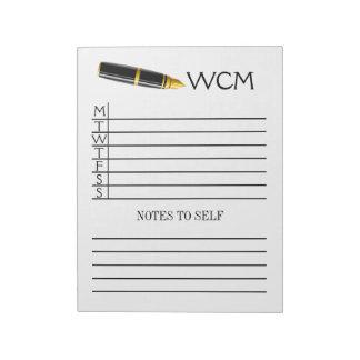 Weekly Planner Pad / Binder Notebook Insert Note Pad