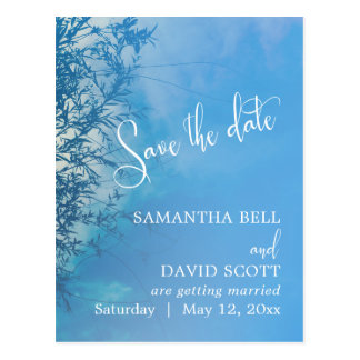 Weeping Willow Ethereal Dreamy Sky Save the Date Postcard