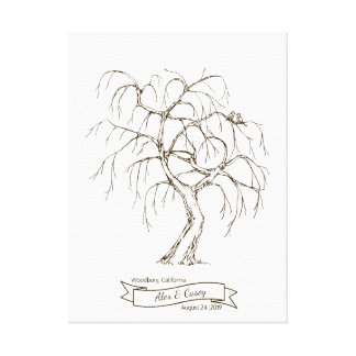 Weeping Willow Fingerprint Tree Canvas Print