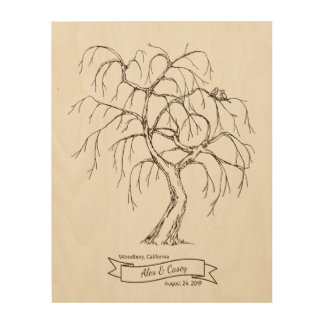 Weeping Willow Fingerprint Tree Wood Wall Decor