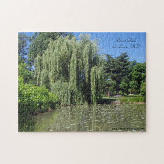 Weeping Willow on Pond Forest Park Missouri Jigsaw Puzzle