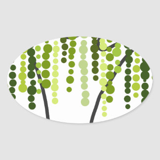 weeping willow oval sticker