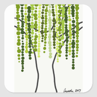 weeping willow square sticker