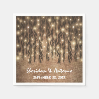 Weeping Willow Tree Branch Lights Vintage Wedding Disposable Napkin