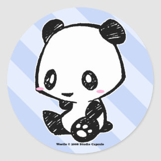 Weetle Panda Classic Round Sticker