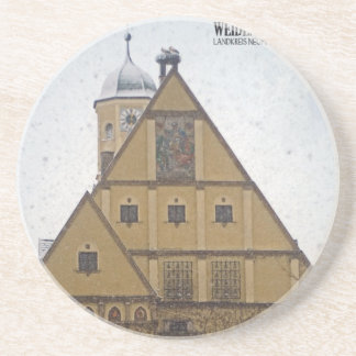 Weiden id Opf - Snowfall at the Rathaus Drink Coaster