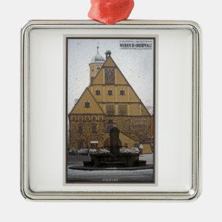 Weiden id Opf - Snowfall at the Rathaus Metal Ornament