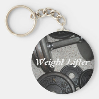 Weight Lifter Basic Round Button Key Ring