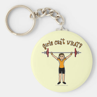 Weight Lifter (Light) Basic Round Button Key Ring