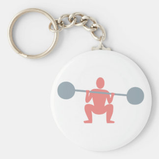 Weight lifter more weightlifter basic round button key ring