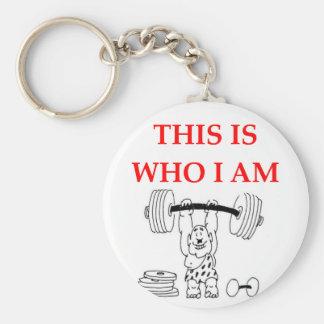 weight lifting basic round button key ring